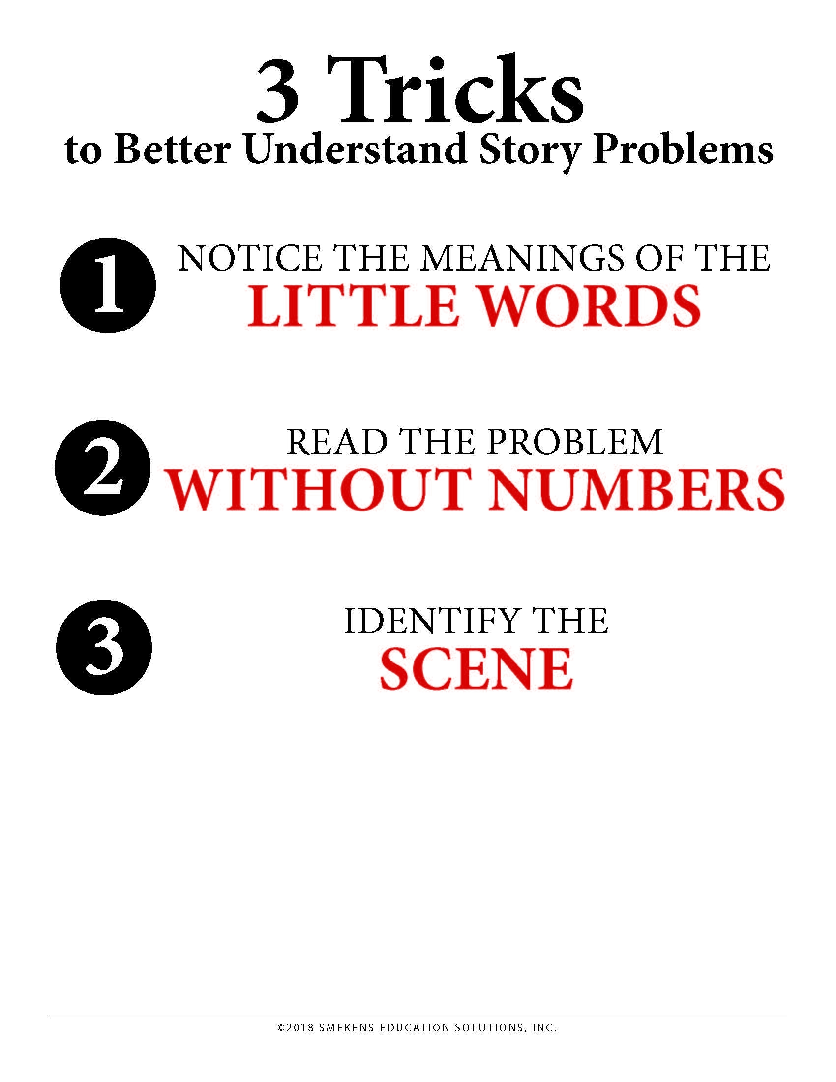 3 Tricks to Better Understand Story Problems - Downloadable Resource