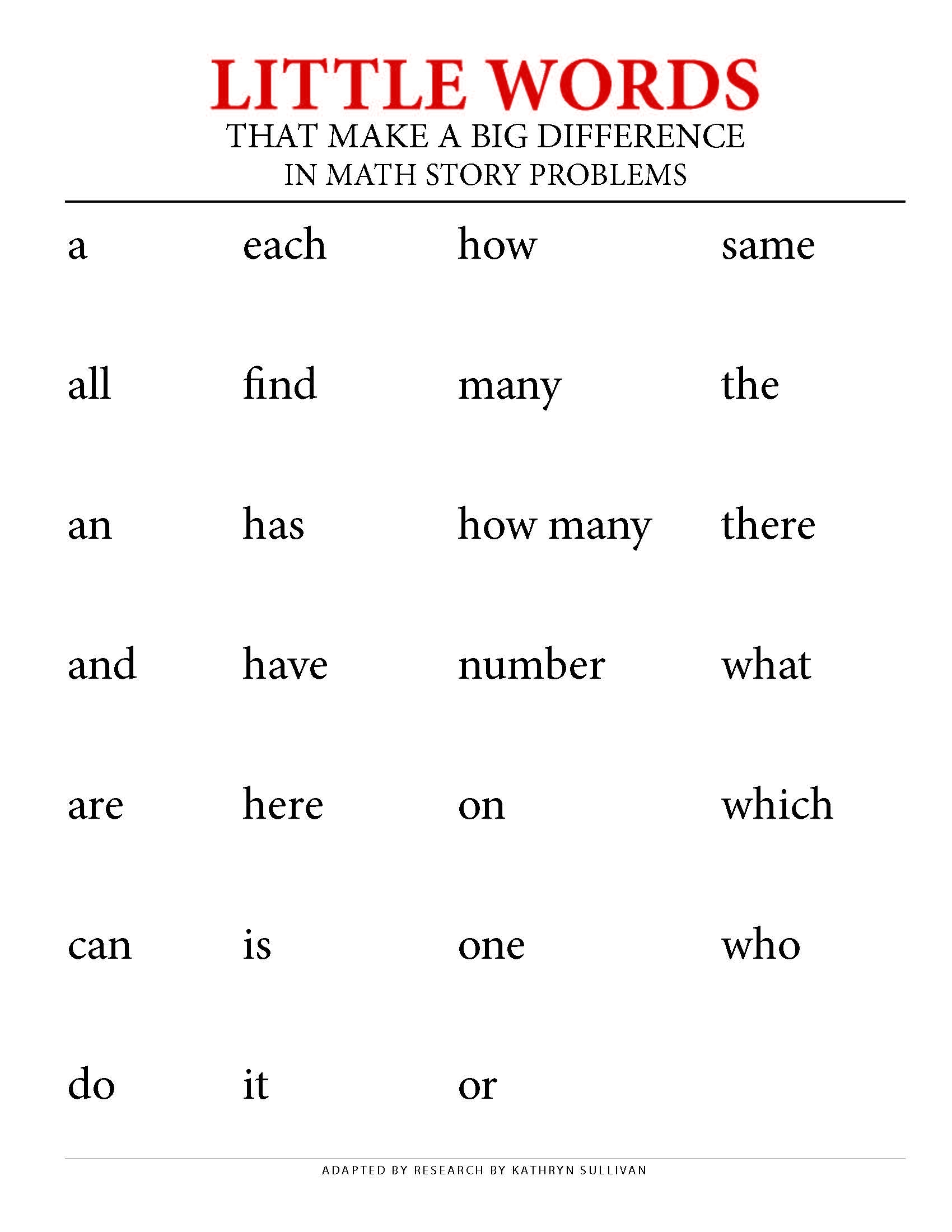 Student Handout - Little Words in Math Story Problems