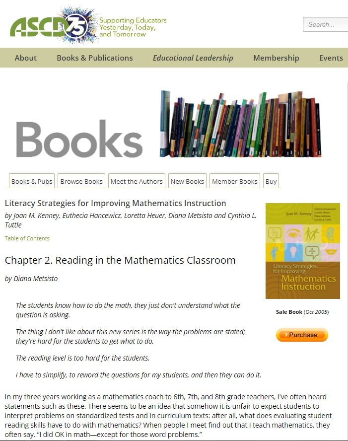 Chapter 2 from Literacy Strategies for Improving Mathematics Instruction