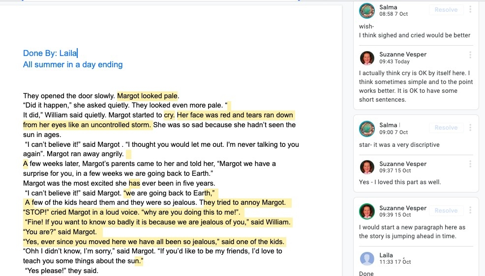 Google Doc for Editing/Revising Student Writing - Suzanne Vesper