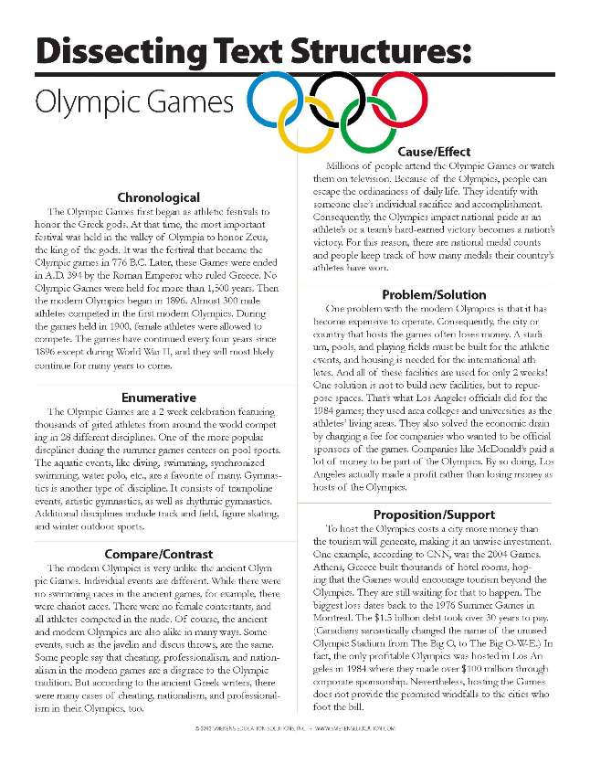 Dissecting Text Structures: Olympic Games