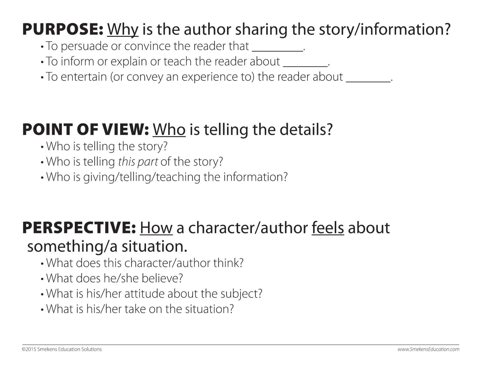 Purpose, Point of View, and Perspective Sheet