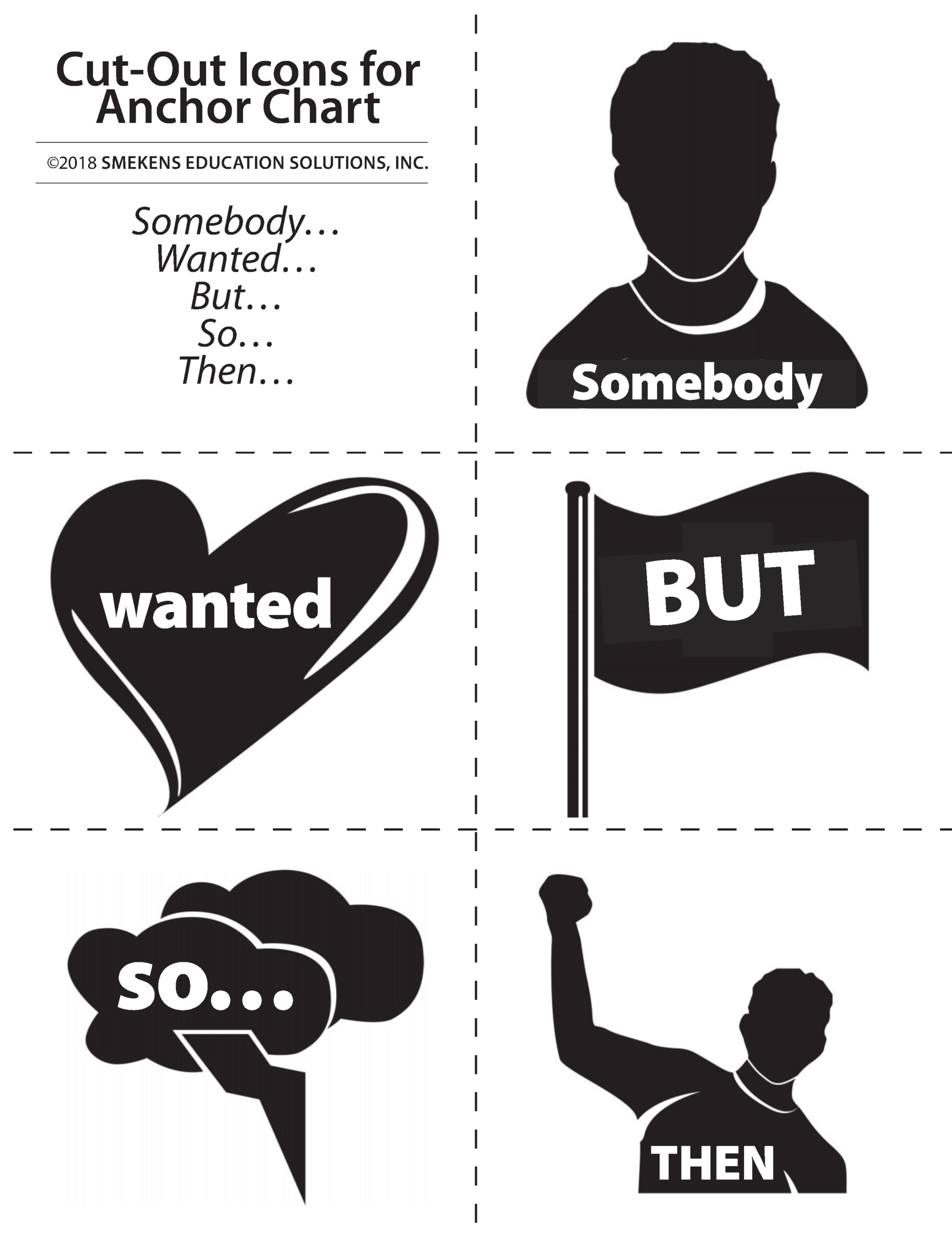 Somebody, Wanted, But, So, Then Cutout Icons in Black & White