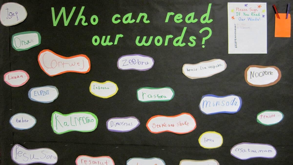 Spelling practice bulletin board