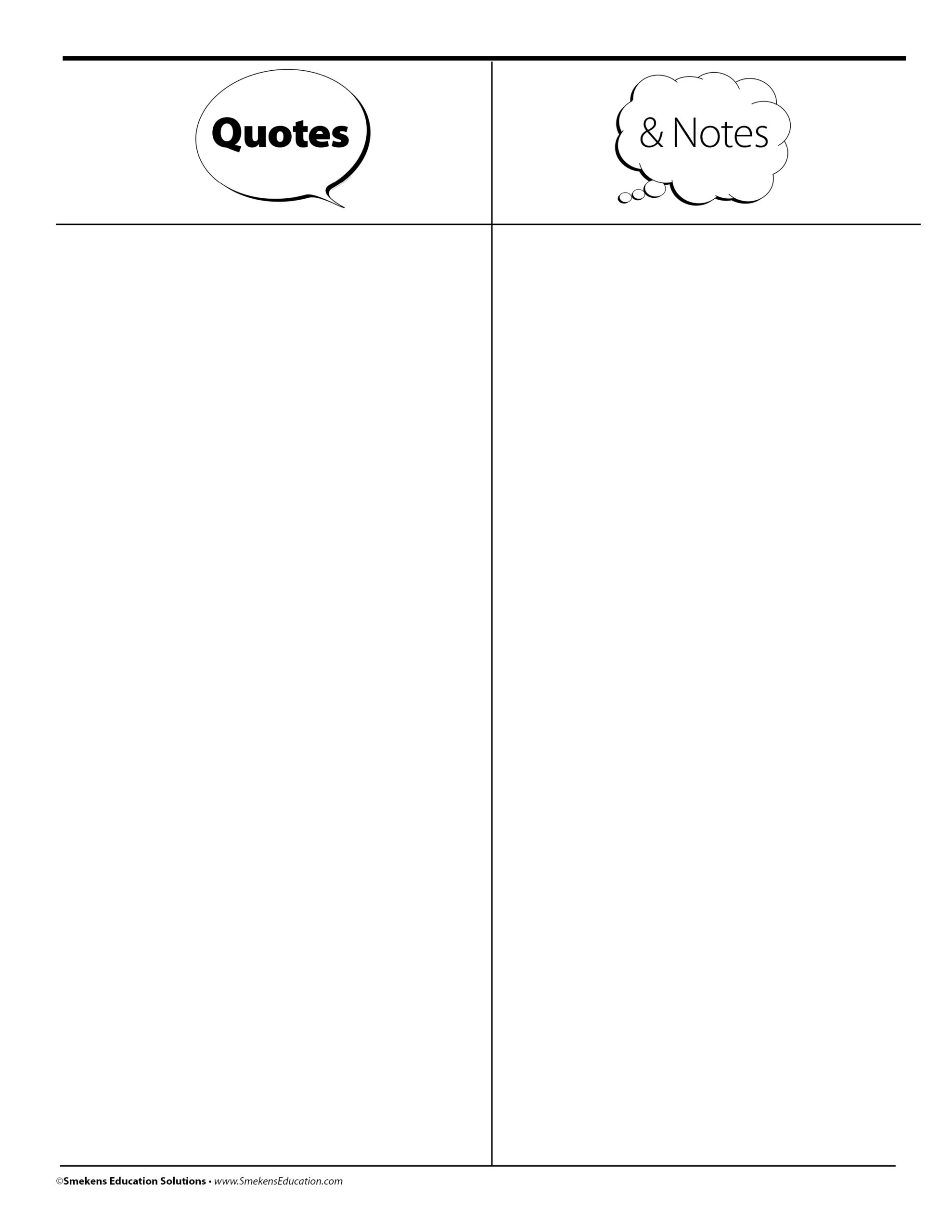 Quotes & Notes Organizer Sheet