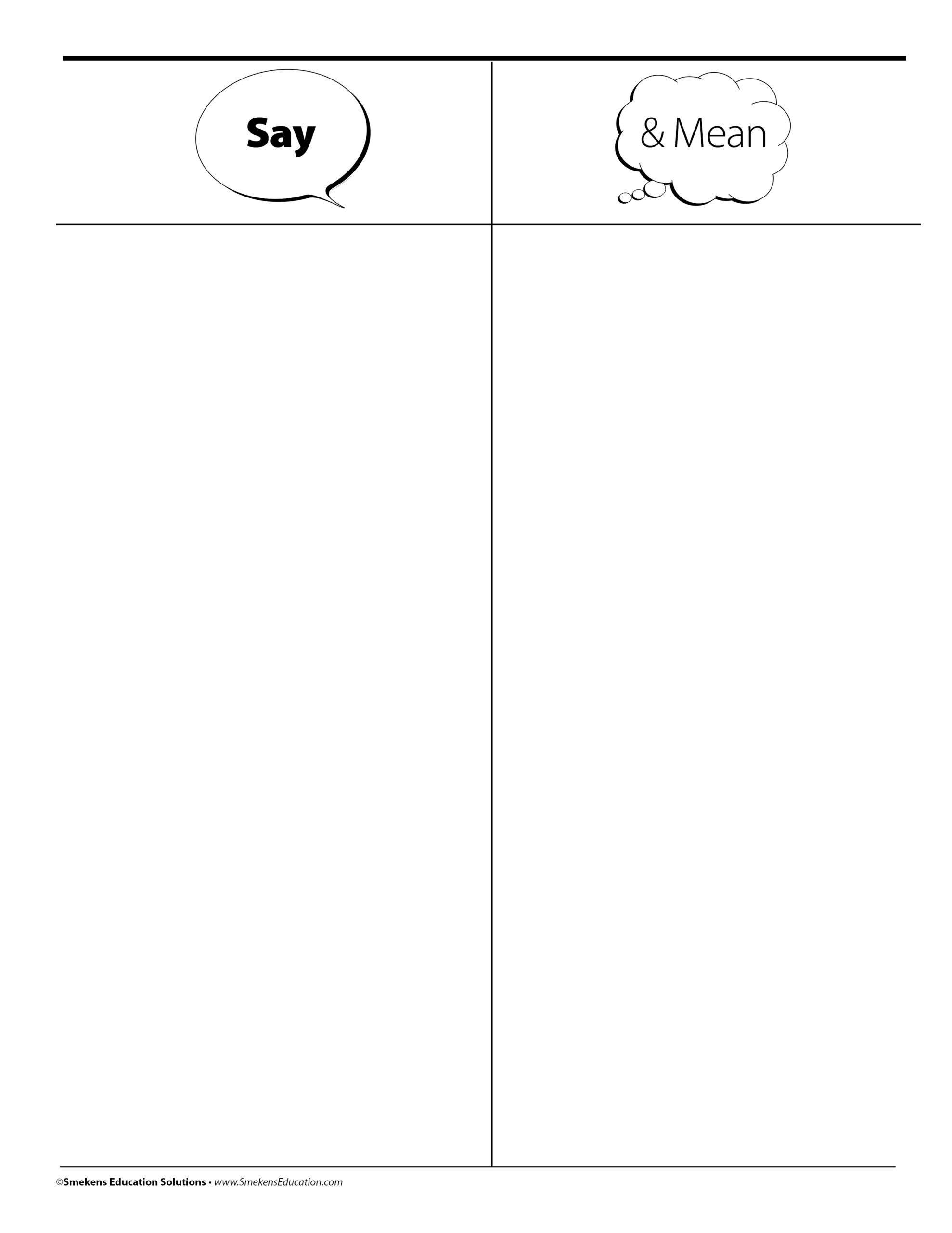 Say & Mean Organizer Sheet