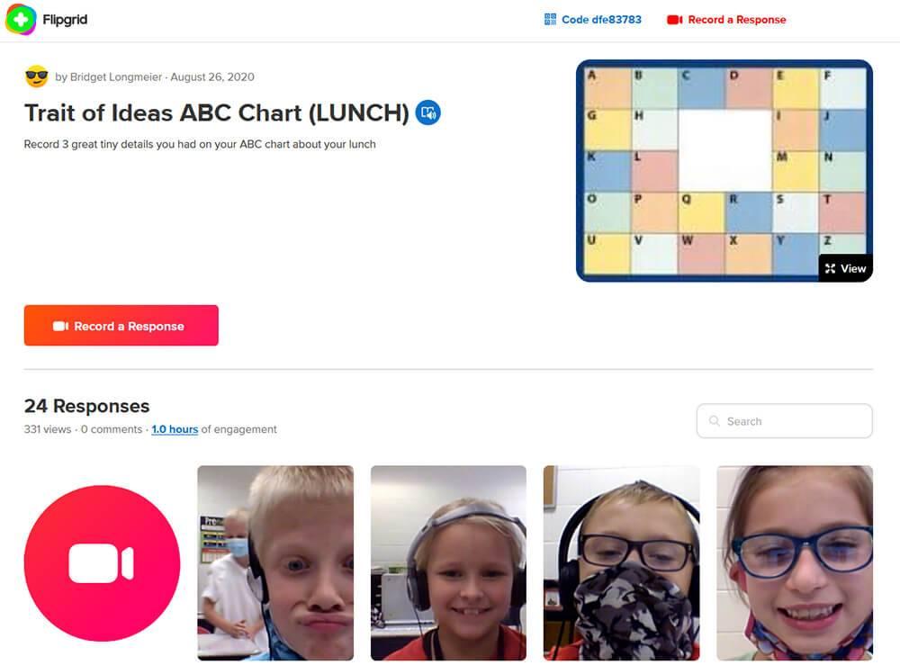 Flipgrid Trait of Ideas ABC Chart