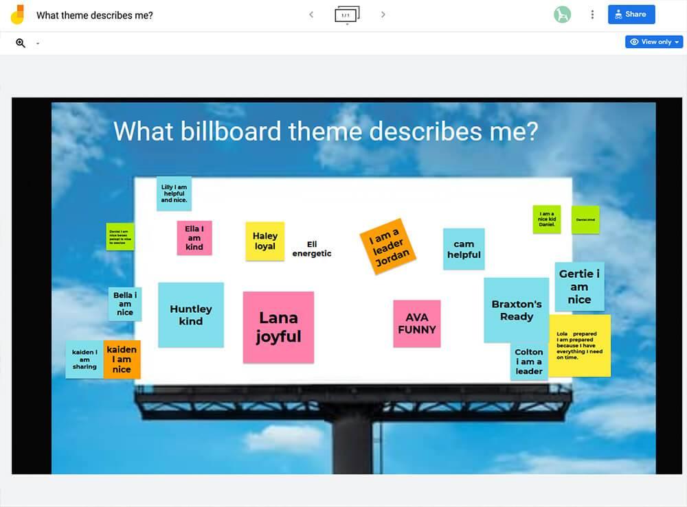 Jamboard What theme describes me billboard