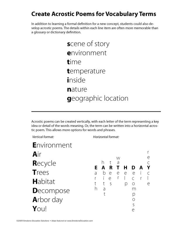 Acrostic Vocabulary Download