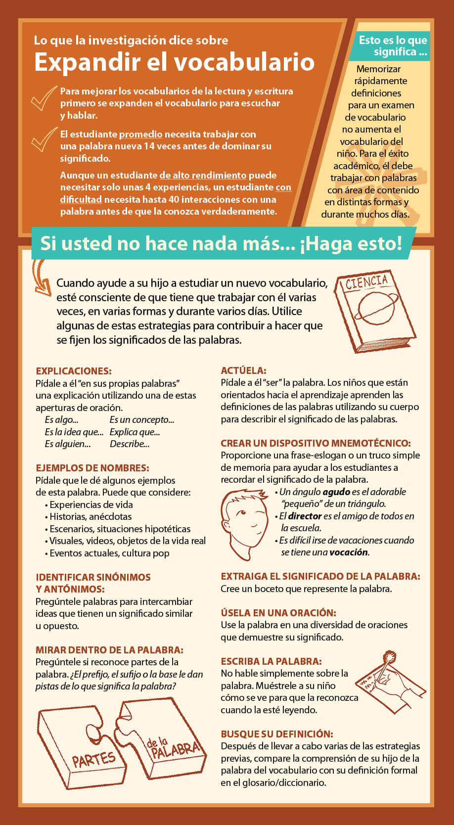 Vocabulary Parent Strategy Card - in Spanish