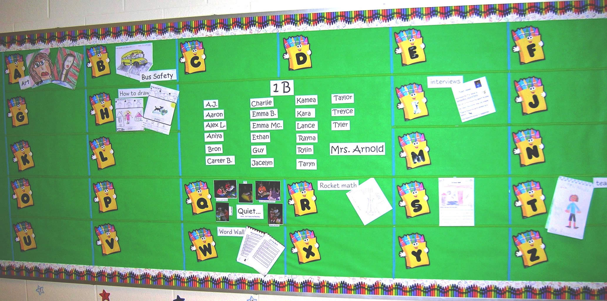 Alphabet Bulletin Board for Writing Ideas