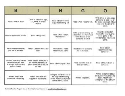 BINGO Summer Reading