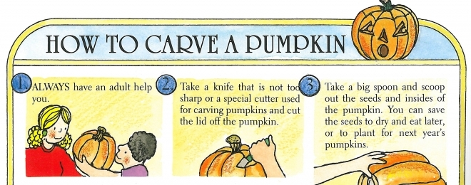 How to Carve a Pumpkin - from The Pumpkin Book, by Gail Gibbons