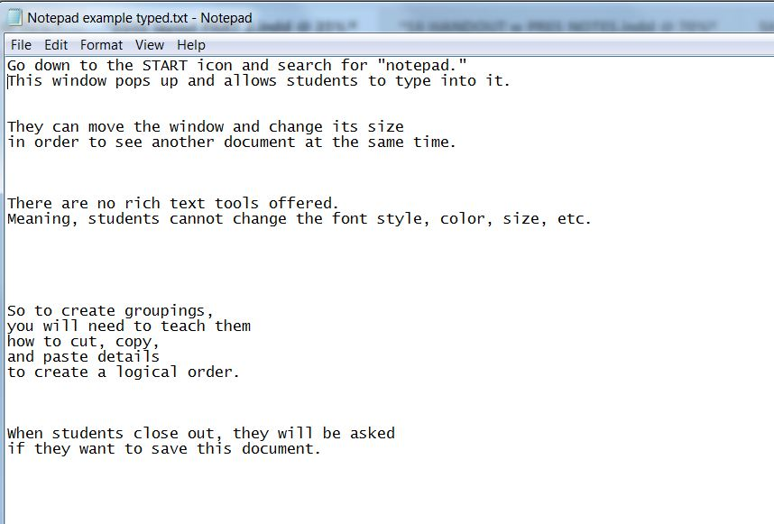 Notepad Example of On-Screen Pre-Writing