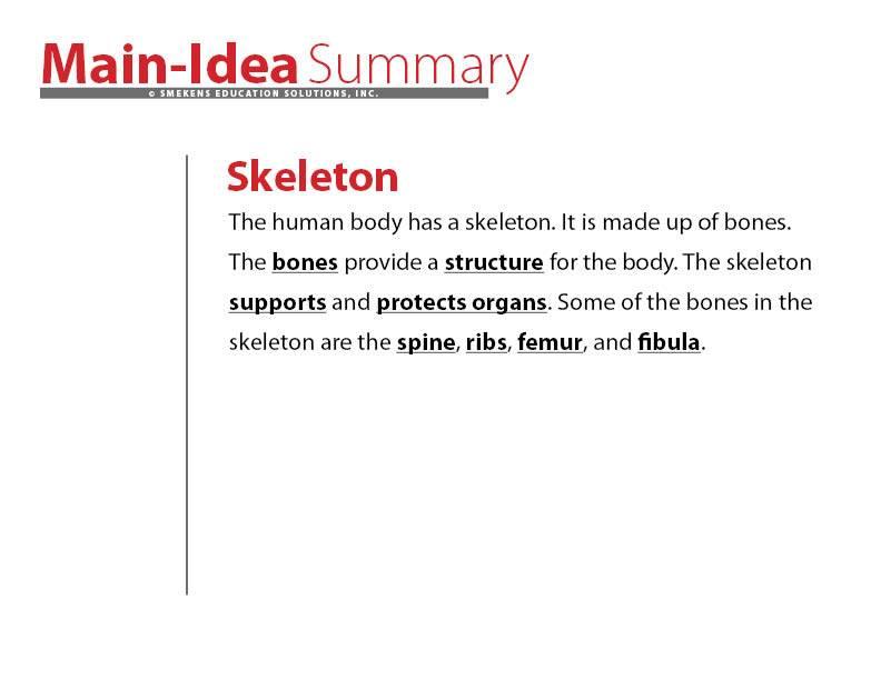 Simple Summary Example: Skeleton