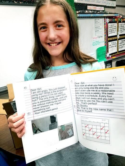 Teacher Ashley Gustin student celebrating published books - Studentreasures