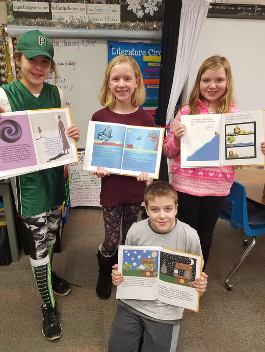 Teacher Ashley Gustin students celebrating published books - Studentreasures