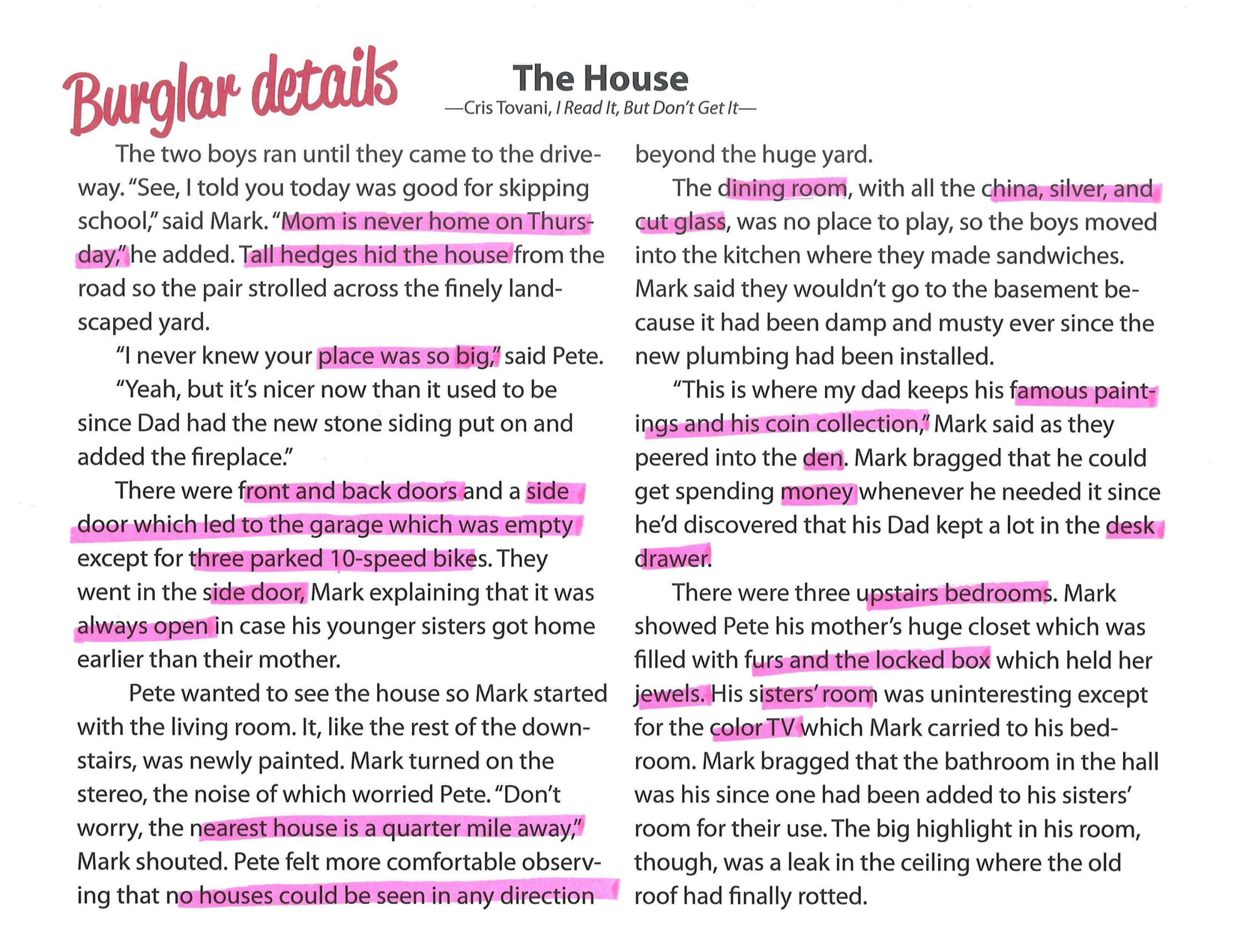 "Annotate Based on Reading Purpose: ""The House"" The Burglar Details"