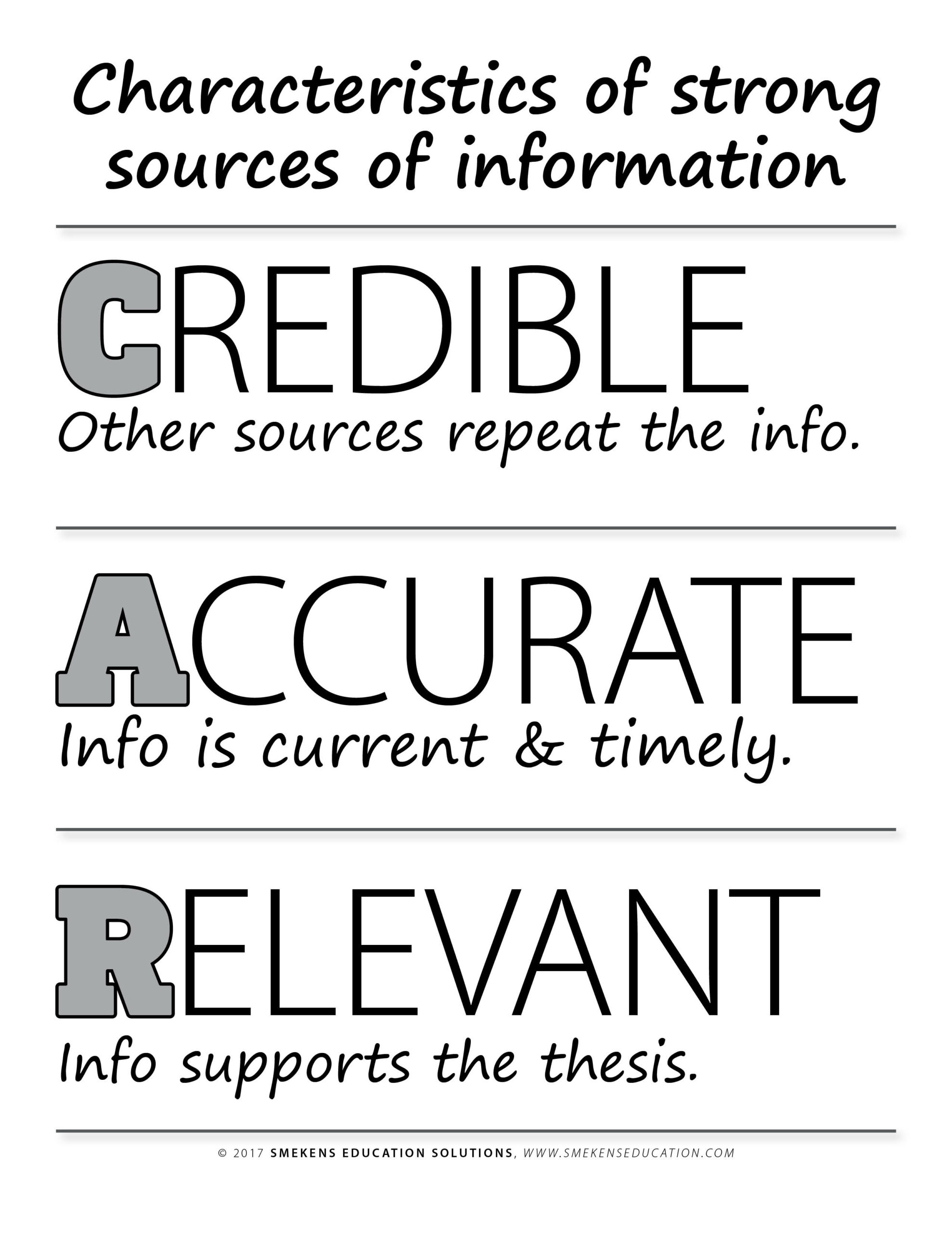 Credible, Accurate, Relevant Handout - Downloadable Resource