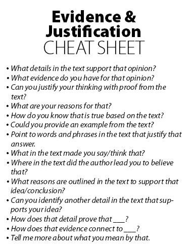 Evidence & Justification Cheat Sheet - Downloadable Resource