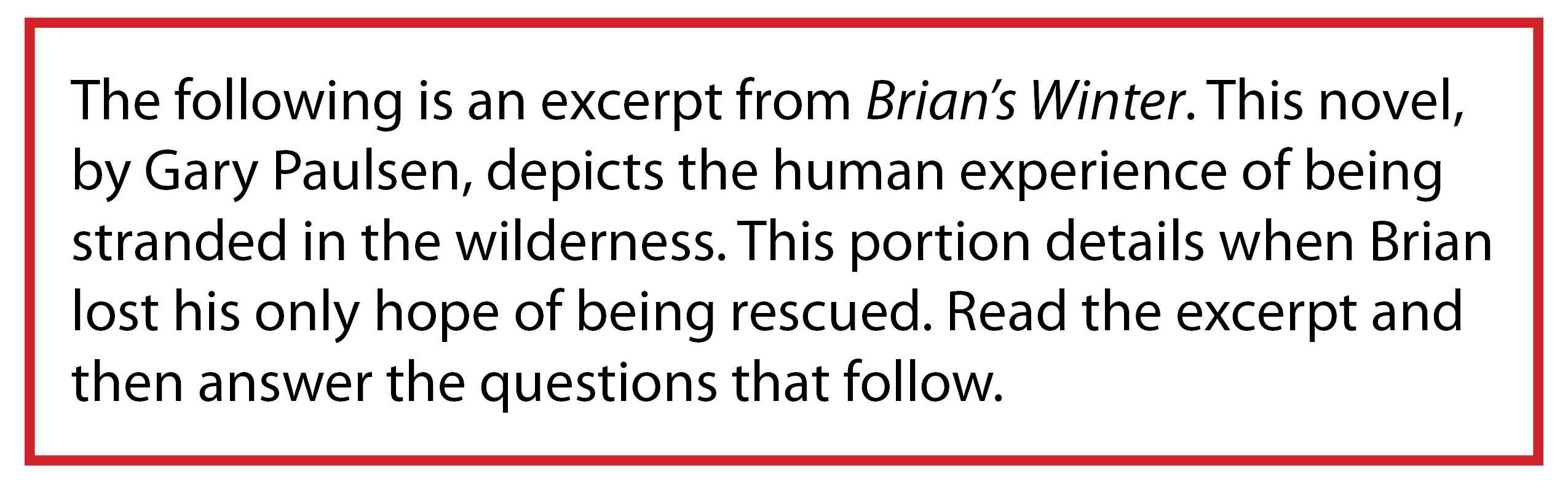 Prompt re: Excerpt from Brian's Winter