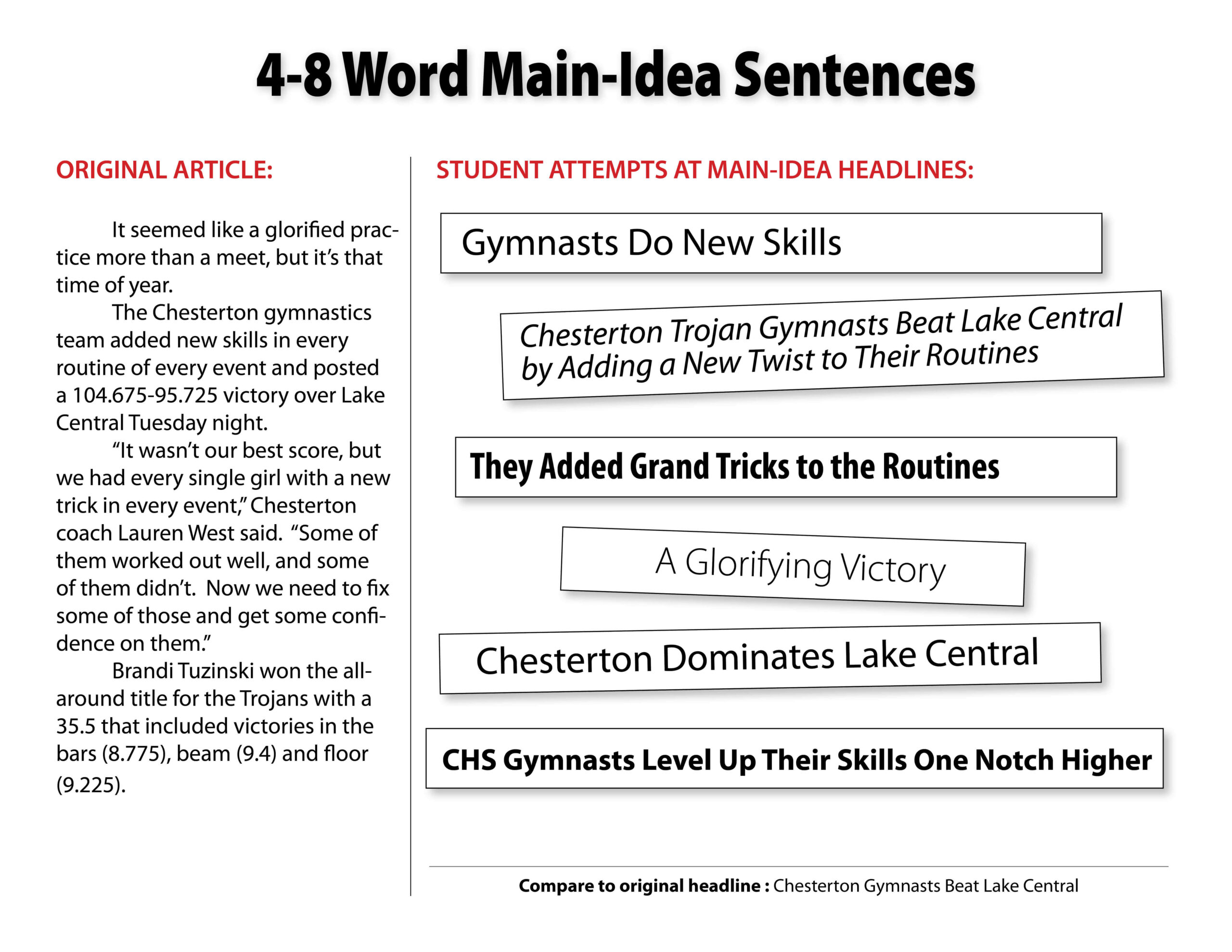 Main-Idea Headlines Samples