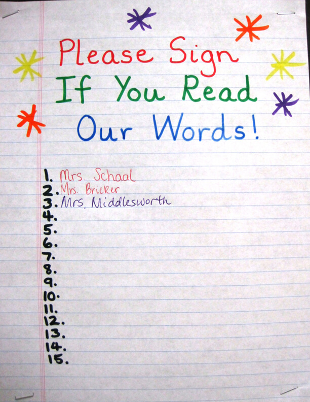 Grade 1 - Sign if you can read our words - Spelling Bulletin Board