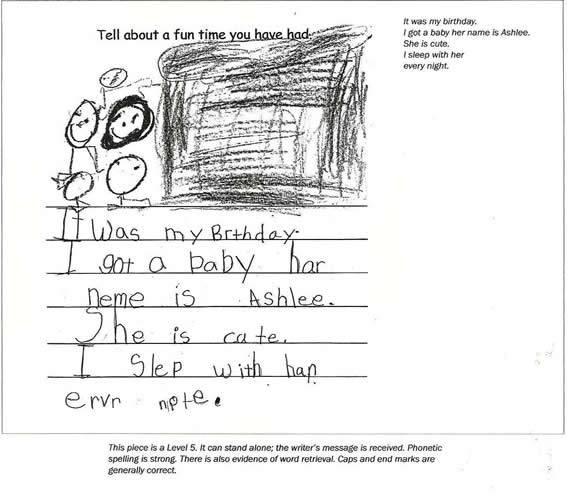 "Anchor Paper: Kindergarten Student Sample ""Fun Time"""