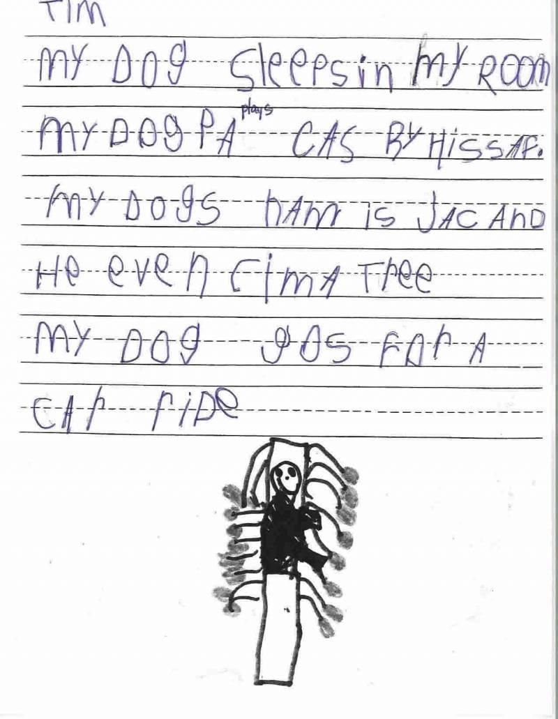 "Anchor Paper: Kindergarten Student Sample - ""My Dog"""