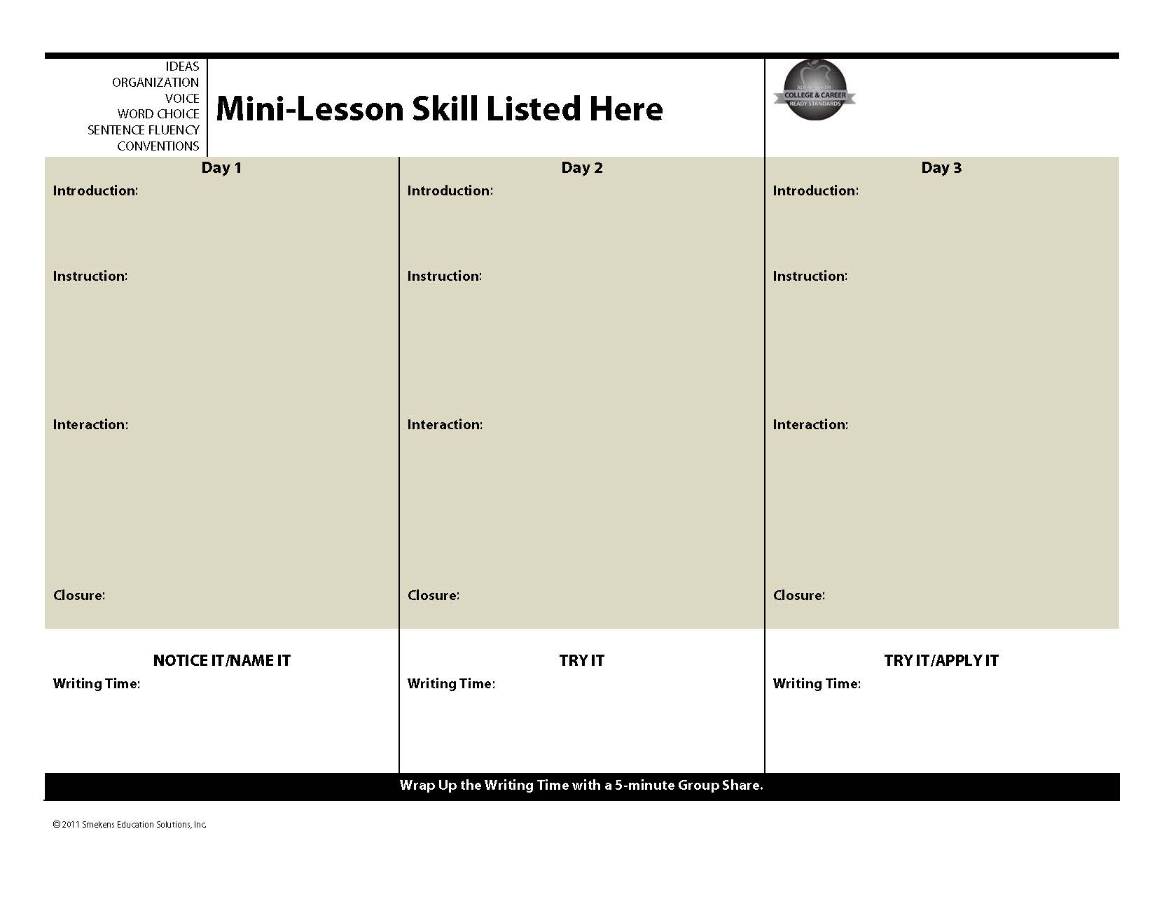 Mini-Lesson Planning Template: 3-Day Series