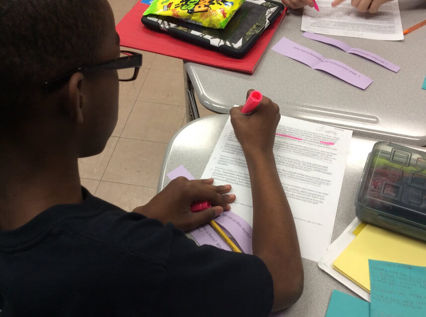 Sara Williams Northeastern MS Classroom: Student 1 working on Yes, MA'AM