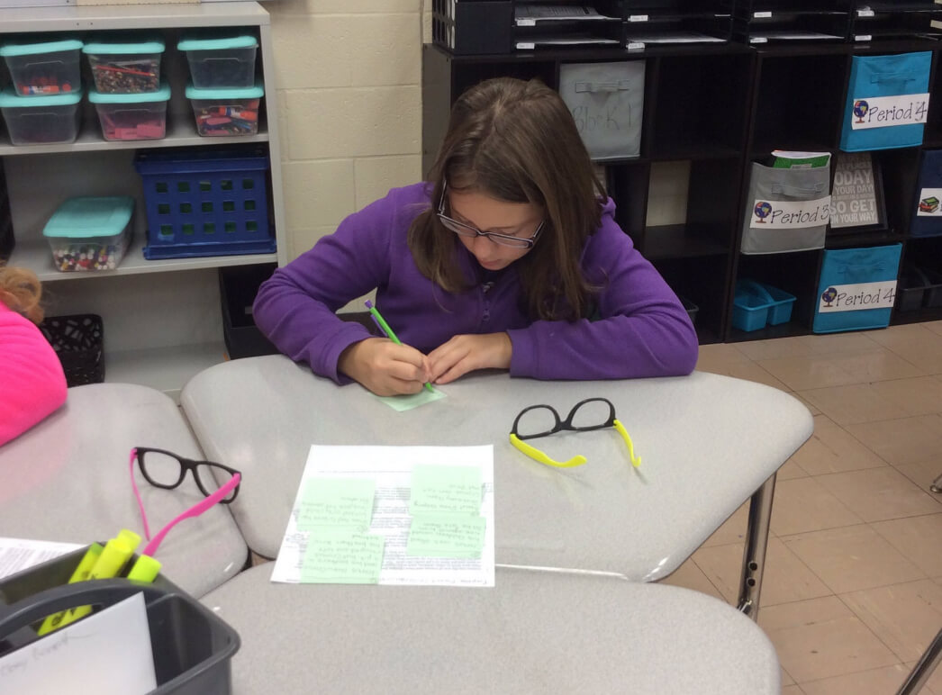 Sara Williams Northeastern MS Classroom: Student 3 working on Yes, MA'AM