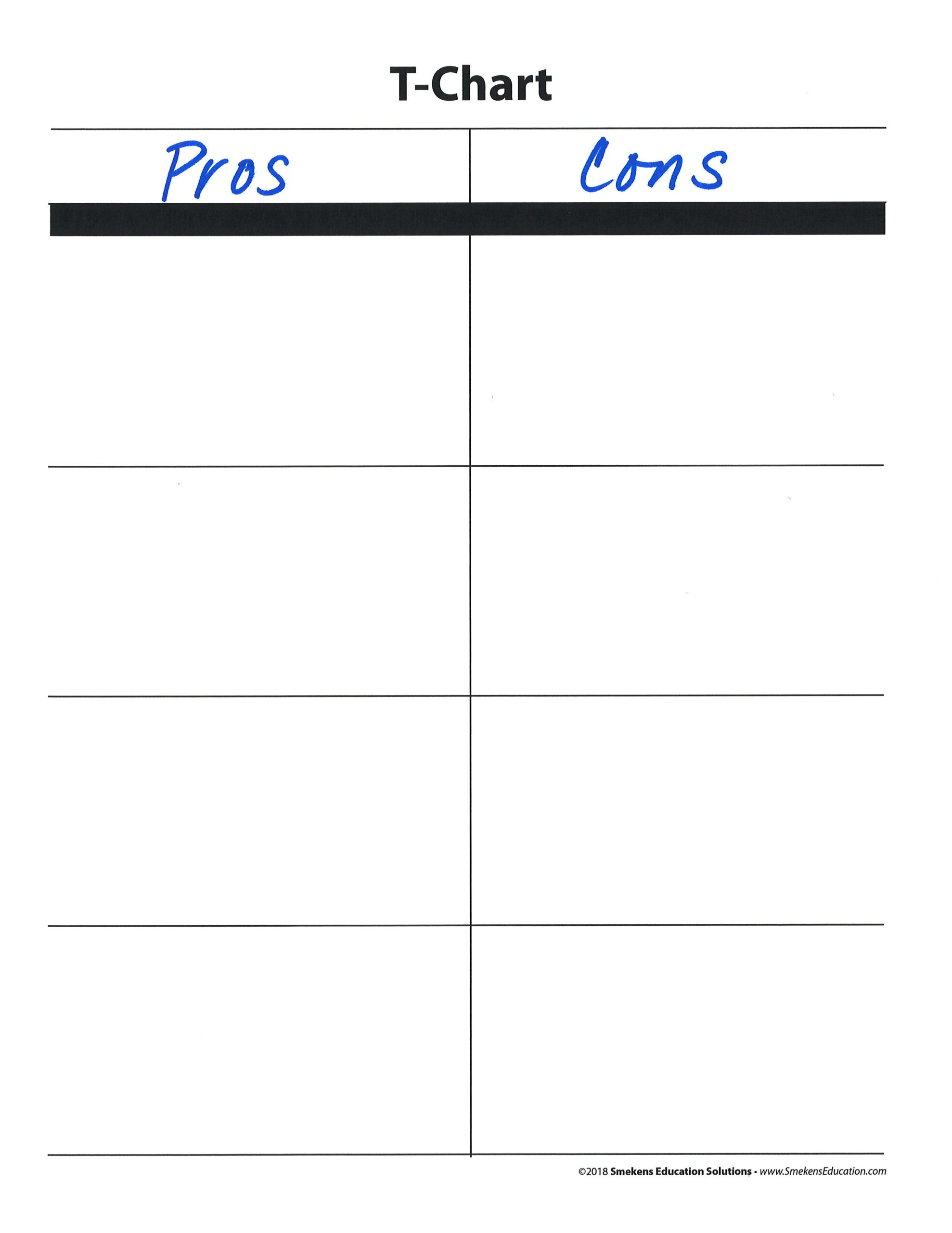Pros-Cons T-Chart