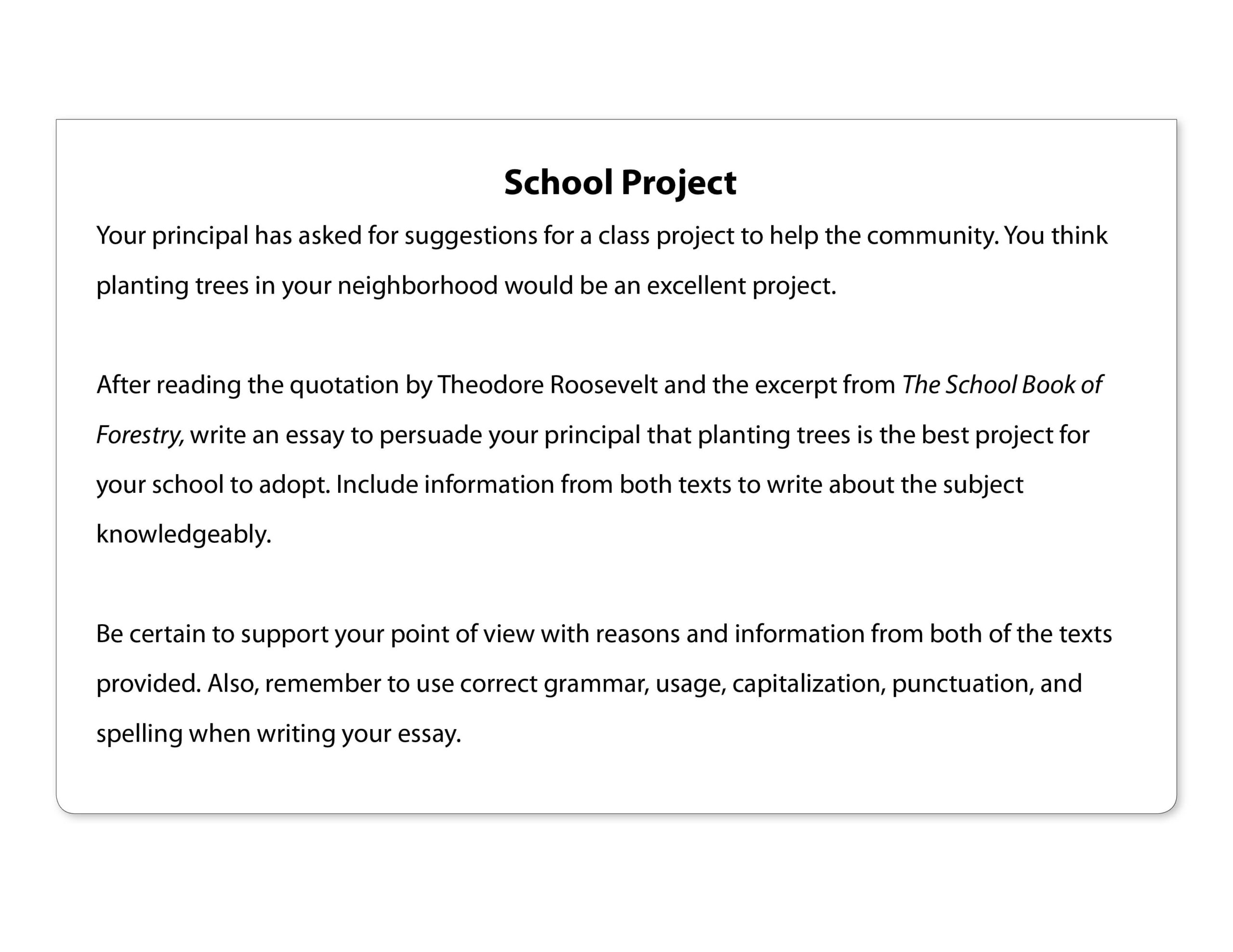 Prompt Example: School Project Original - Downloadable Resource