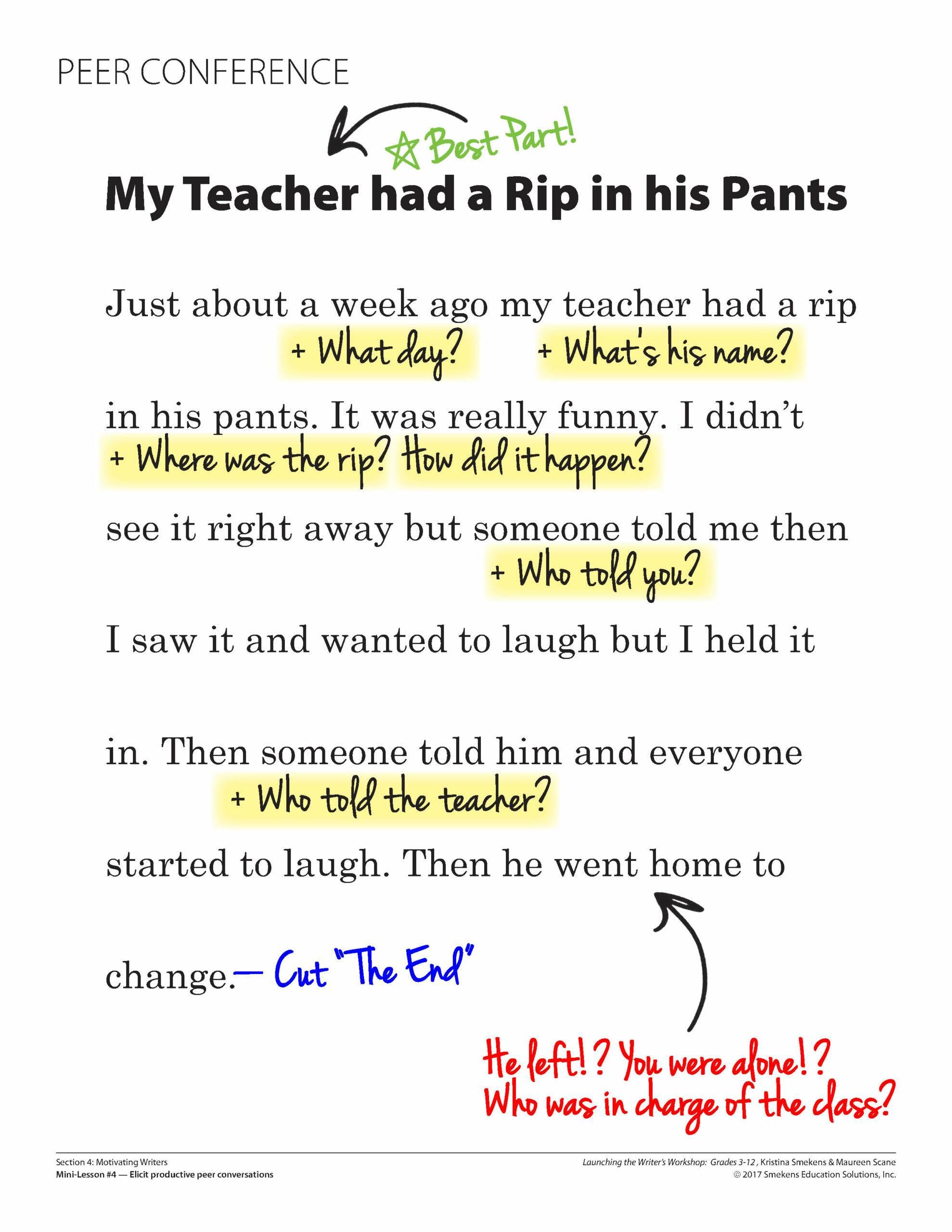 Grade 4 Student Sample: Rip in Pants Original
