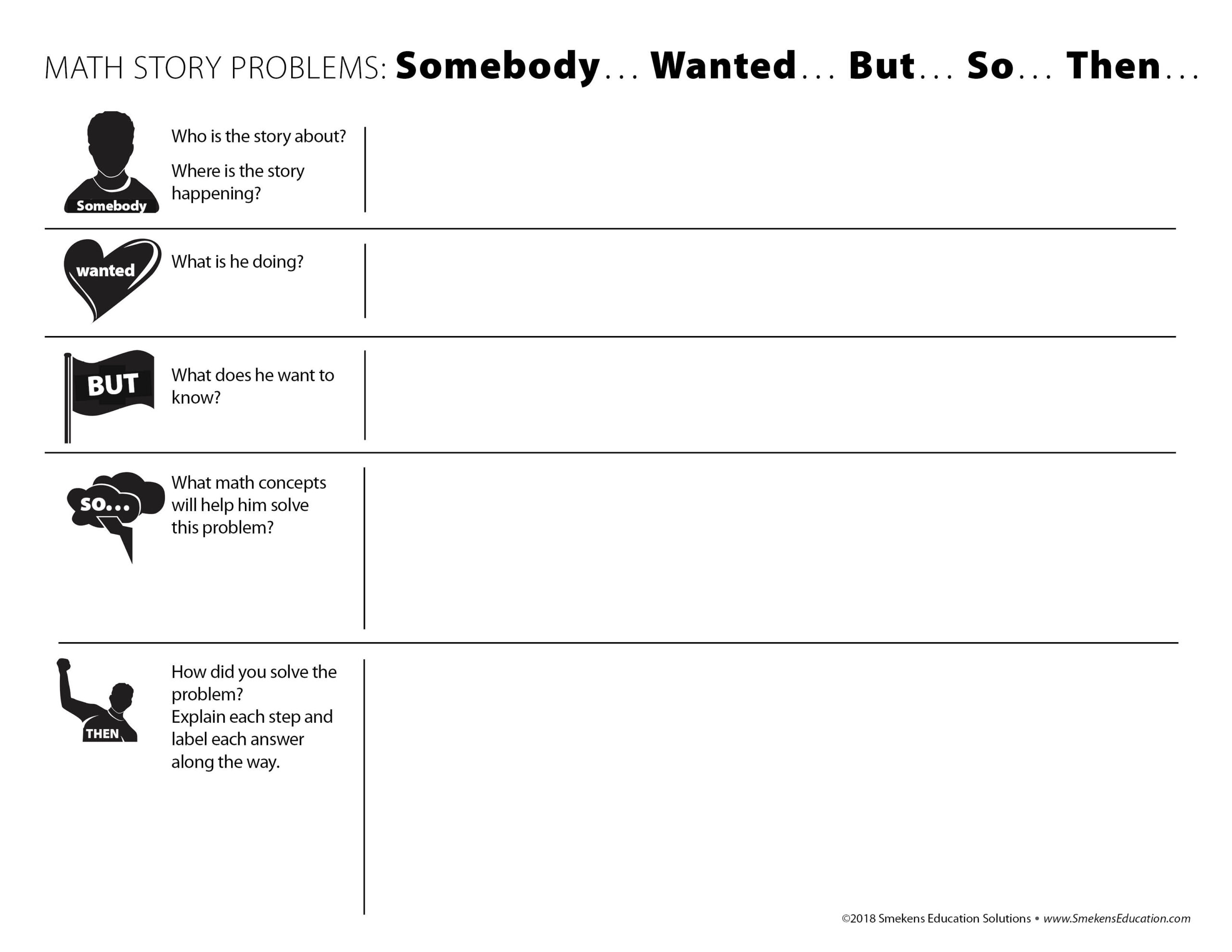 Somebody, Wanted, But, So, Then Math Story Problem Template