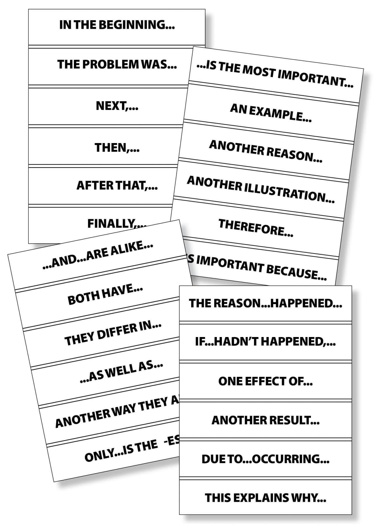 Story Frame - Text-Structure Transition Phrases - Downloadable Resource