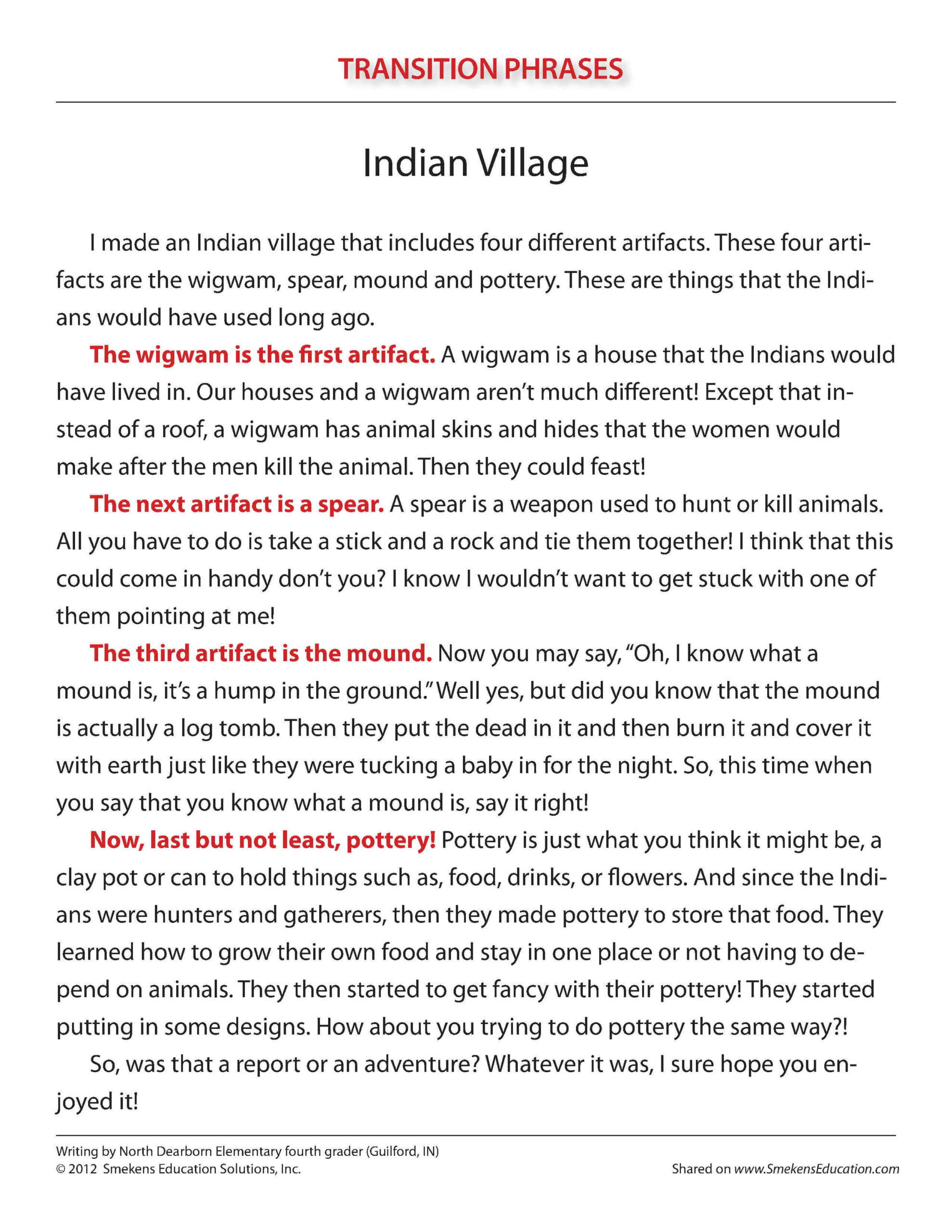Transition Phrases Anchor Papers - Indian Village