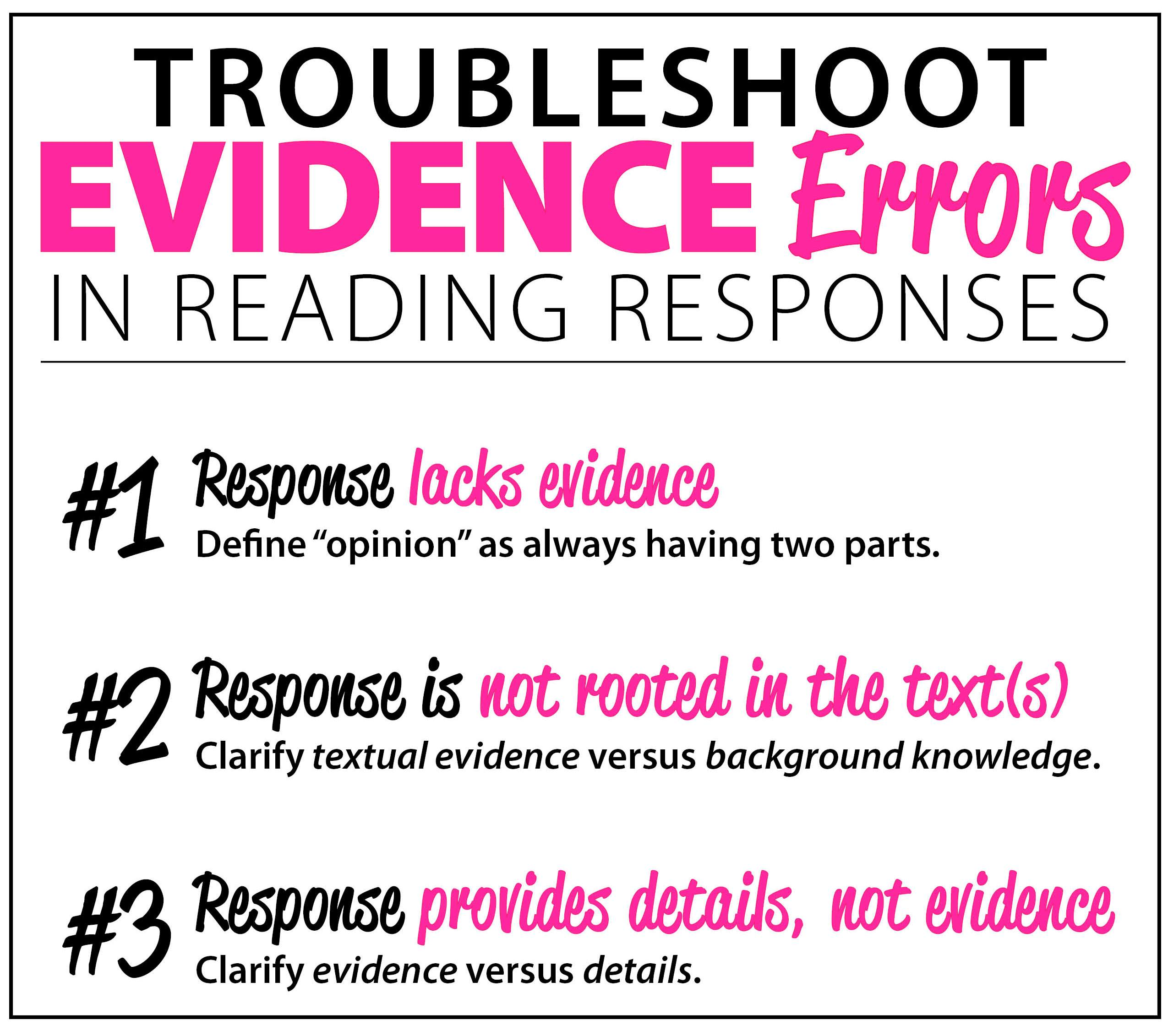 Troubleshoot Evidence Errors in Reading Responses - Downloadable Resource