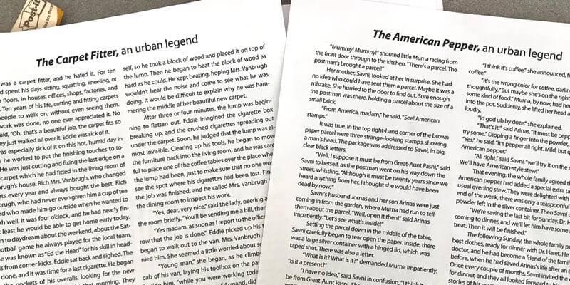 Jodie Pulciani Classroom: Compare & Contrast Urban Legends - Downloadable Resources