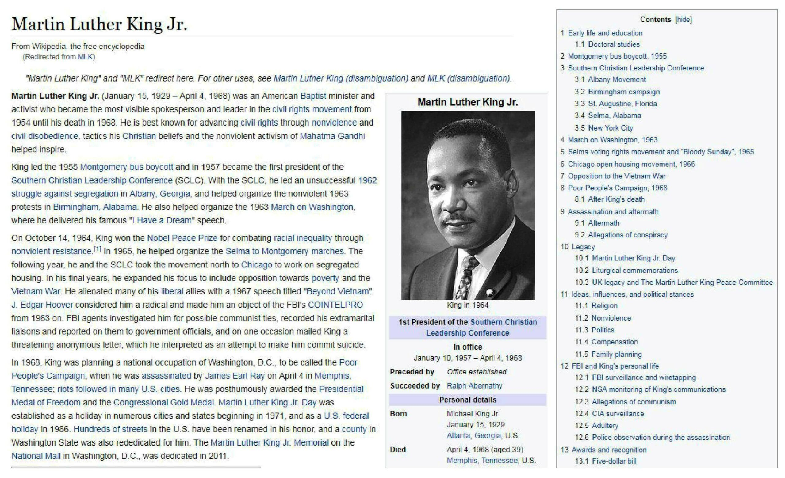 Wikipedia Martin Luther King, Jr. Article
