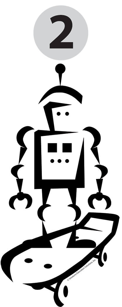 Reading Fluency Robot on Skateboard Icon