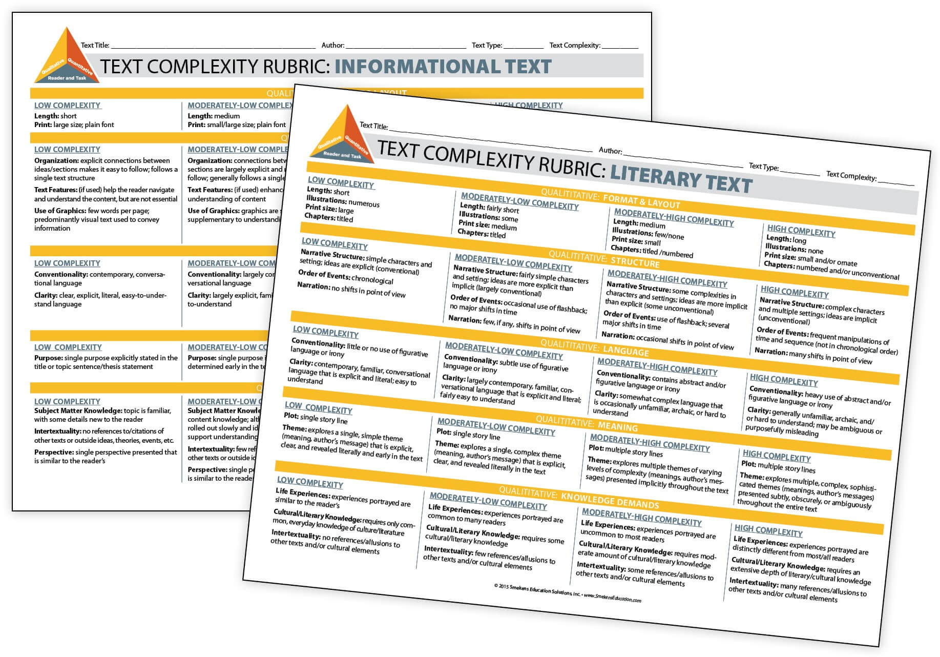 Text Complexity Rubric: Literature & Informational Text
