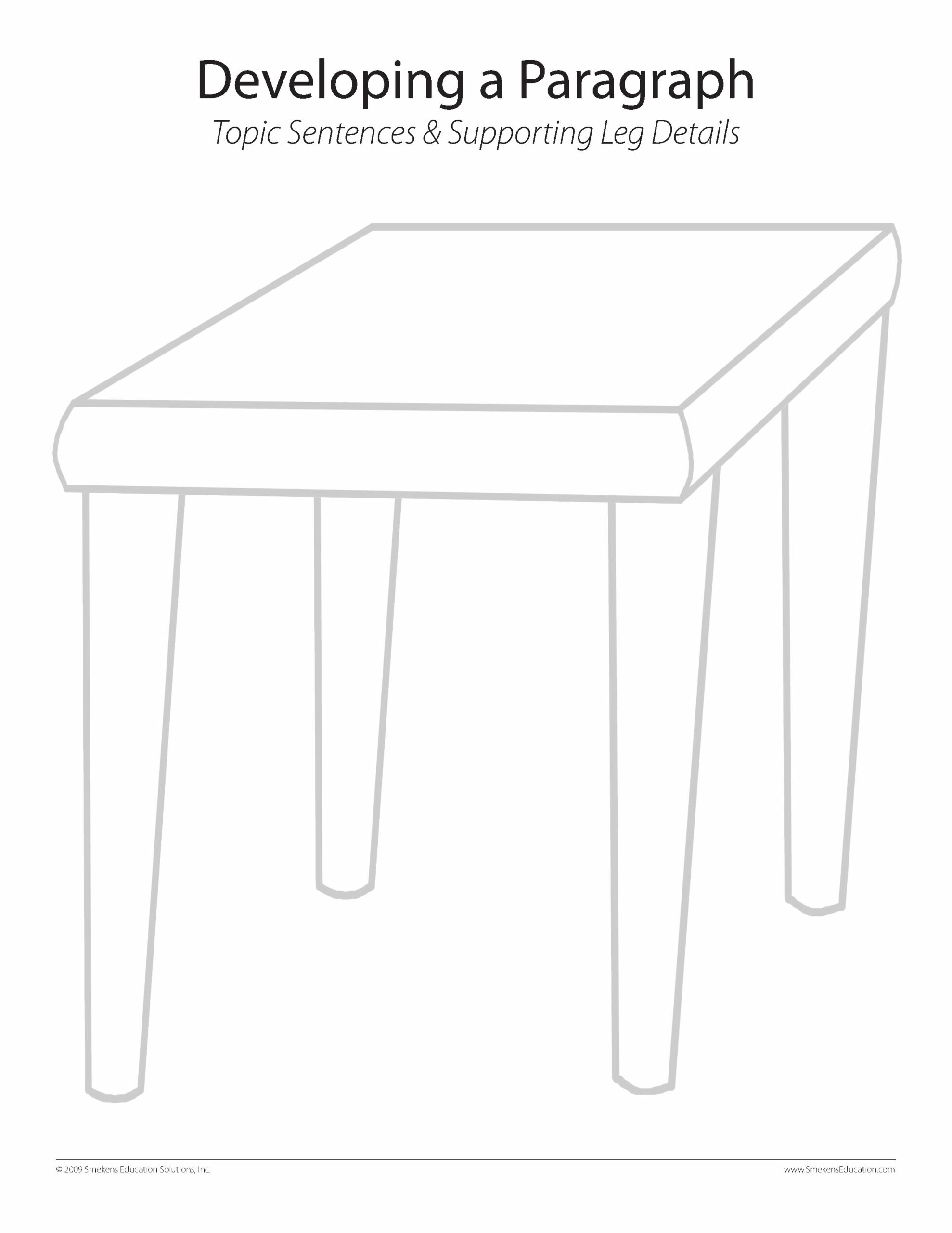 Tables & Legs Graphic Organizer - One Table