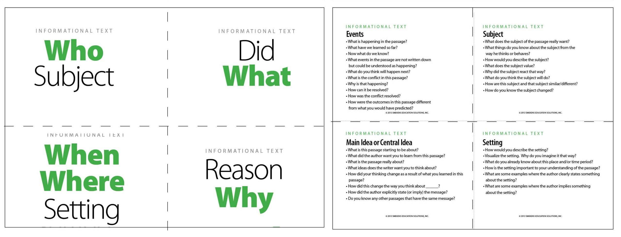 5 Ws Question Cards for Informational Text