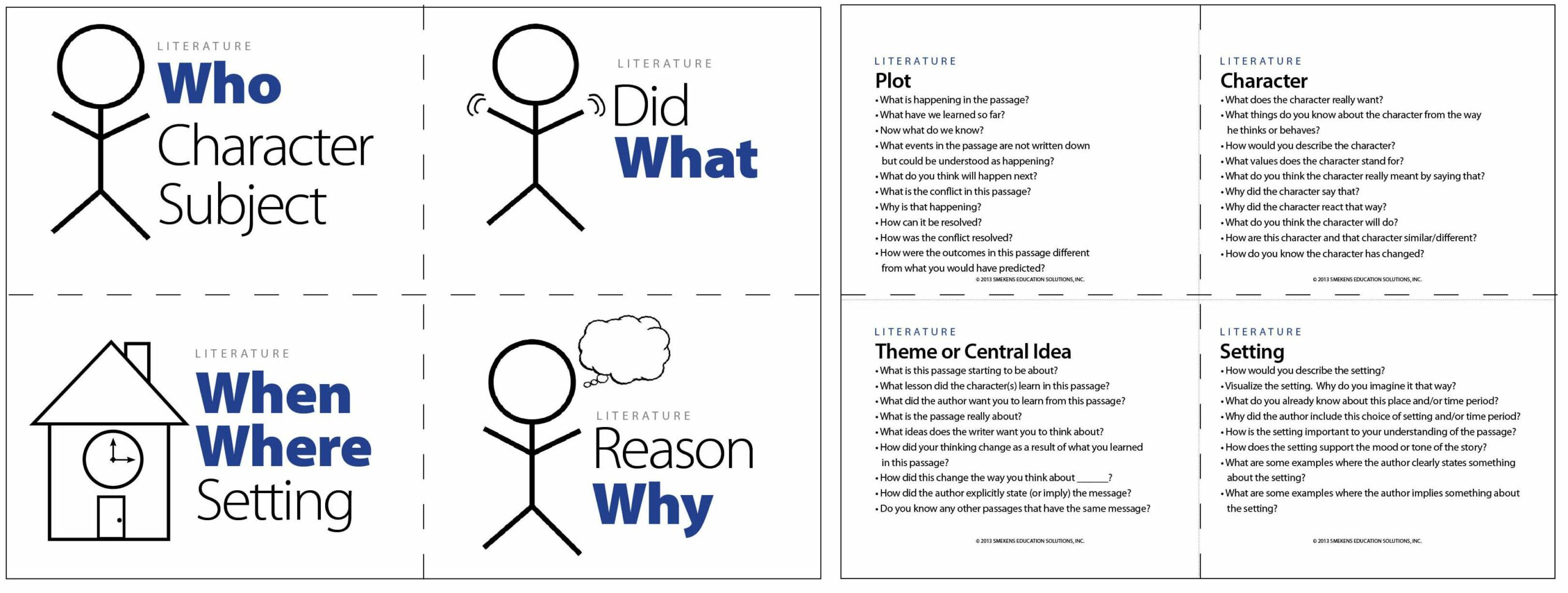 5 Ws Question Cards for Literature