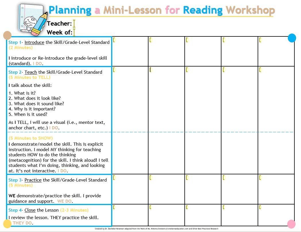 Comprehension Mini-Lesson Planner - Dr. Danielle Hickerson - Word Template