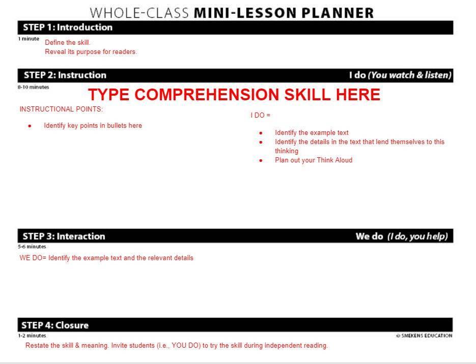 Comprehension Mini-Lesson Planner - Google Slide